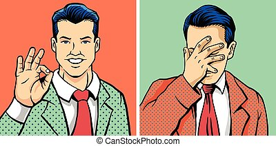 OK man and facepalm man. Vector illustration set