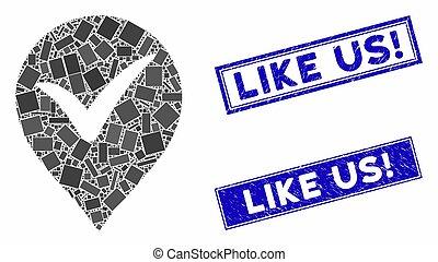 OK Marker Mosaic and Grunge Rectangle Like Us! Stamp Seals...