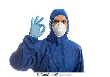 o.k.., mostrando, roupa, doutor, protetor