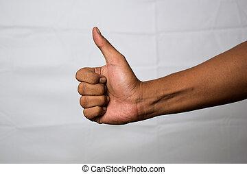 ok, moyens, isolé, haut, main, gestes, asiatique, fond, il, fin, blanc, homme, spectacles