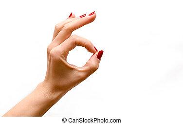 ok, mulher, isolado, sinal, fundo, fazer, branca, mão