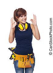 ok, ouvrier, jeune, signe, construction, femme, faire gestes, heureux