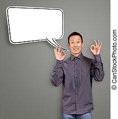 ok, parole, homme asiatique, bulle, spectacles