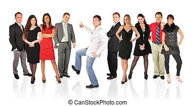 ok, pessoas, colagem, jovem, outro, homem, gesto, feliz