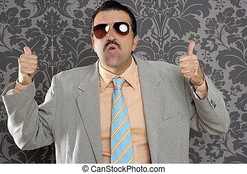 ok, positif, main, retro, homme affaires, nerd, geste, homme