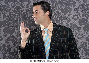ok, positivo, mão,  retro, homem negócios,  NERD, gesto, homem