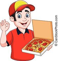 ok, projection, deliveryman, chaud, savoureux, tenue, signe, pizza