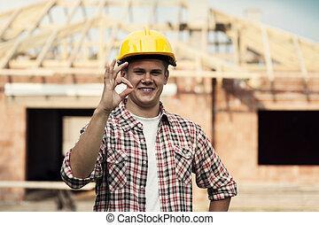 ok, projection, ouvrier, signe, construction