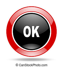 ok red and black web glossy round icon
