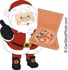 ok, santa, illustration, pizza