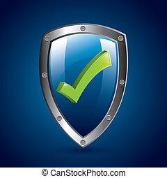 ok shield over blue background vector illustration