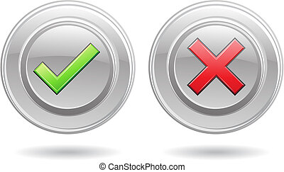 ok sign and error sign isolated on a white background, vector illustration