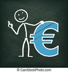 ok, stickman, euro, lavagna