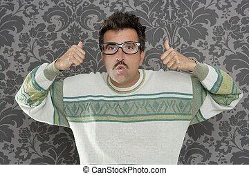 ok, tankfull, dum, retro, man, nerd, gest, glasögon