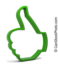 Thumbs up symbol. Three-dimensional green icon isolated on white. Part of a series.