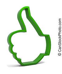 Ok! - Thumbs up symbol. Three-dimensional green icon ...