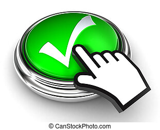 ok tick check mark symbol on green button with cursor hand