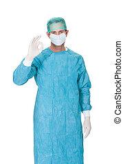 o.k., uniform, schrobt, vervaardiging, chirurg, mannelijke , gebaar