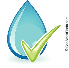 OK Water - Water drop with a check mark