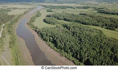 oka, central, rivière, russie, rivière, floodplain, prés