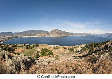 Okanagan Lake and Penticton with mountains