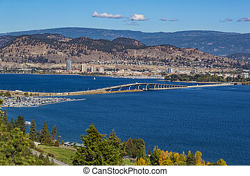 Okanagan Lake Bridge Kelowna BC Canada - A view of the...