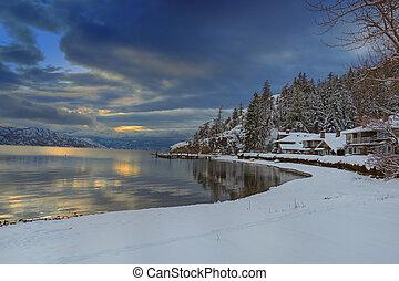 Okanagan Lake Kelowna British Columbia in Winter