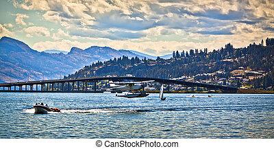 okanagan, ocupado, lago, floatplane