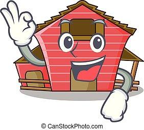 Okay a red barn house character cartoon