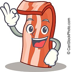 Okay bacon character cartoon style vector illustration