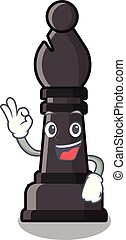 Okay bishop chess above the mascot chessboard vector