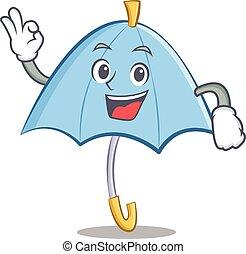 Okay blue umbrella character cartoon