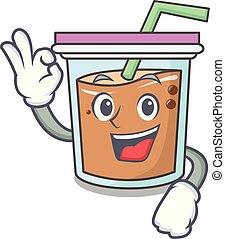 Okay bubble tea character cartoon