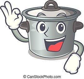 Okay cartoon cookware stock pot in kitchen vector...