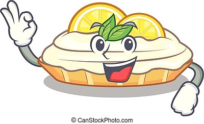 Okay cartoon lemon cake with lemon slice