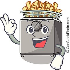Okay character deep fryer on restaurant kitchen vector...