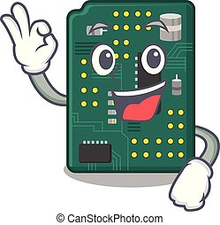 Okay circuit board pcb in cartoon shape vector illustration