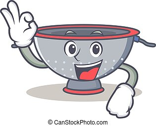 Okay colander utensil character cartoon vector illustration