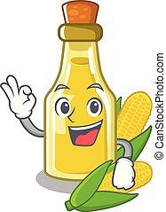Okay corn oil put into cartoon bottle