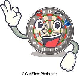 Okay dartboard in the shape of mascot