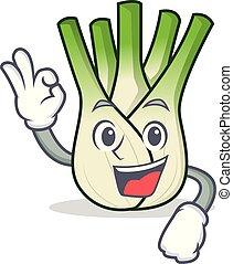 Okay fennel character cartoon style vector illustration