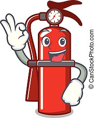 Okay fire extinguisher character cartoon