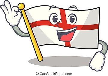 Okay flag england with the cartoon shape vector illustration