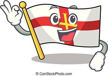 Okay flag guernsey with the cartoon shape vector illustration