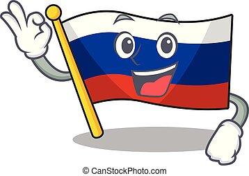 Okay flag russian stored in cartoon cupboard