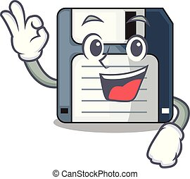 Okay floppy disk isolated with a mascot