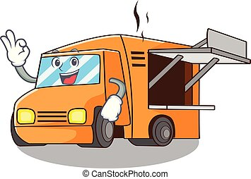 Okay Food Truck with Isolated on mascot