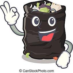 Okay garbage bag in the cartoon shape vector illustration