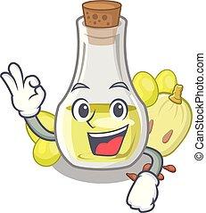 Okay grape seed oil in cartoon bottle