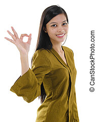 Asian female okay hand sign with great smile.